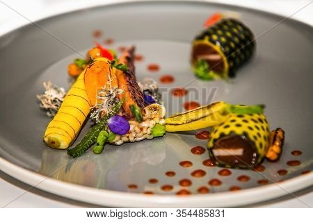 The Food In The Restaurant. Food Styling And Restaurant Meal Serving. Gourmet Restaurant Menu Concep