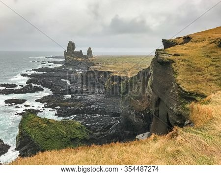 Snaefellsness National Park In Iceland Londrangar Volcanic Basalt Towers At Cliff Coast
