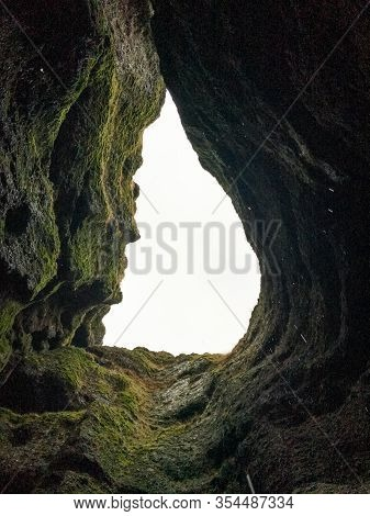 Snaefellsness National Park In Iceland Raudfeldsgja Gorge Upwards View From Inside The Crack Water D