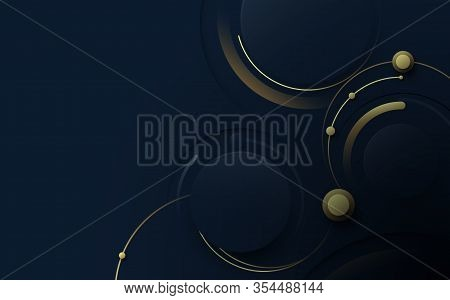 Abstract Blue And Gold Luxury Geometric With Hi-tech Futuristic Conccept Background