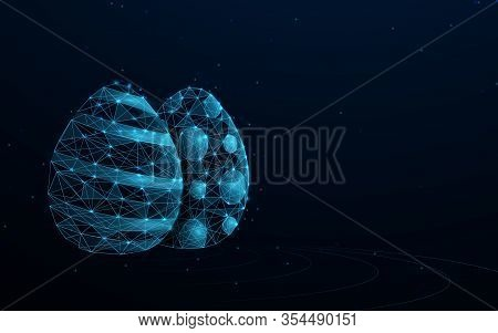 Happy Easter Background. Easter Eggs Form Lines, Triangles And Particle Style Design