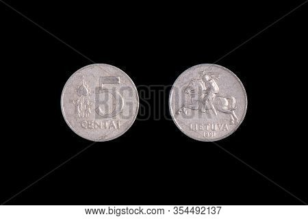 Coin Lithuania Lit On The Black Background. Centu Lietuva
