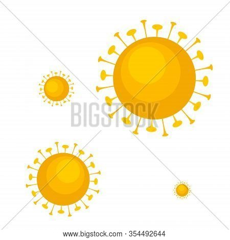 Blue Virus, Bacteria, Microbes Icon. Set Vector Bacteria Sign In Flat Style. Microbe Bacteria Icon I