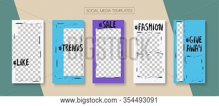 Modern Stories Vector Background. Online Shop Polygon Invitation Advert. Blogger Simple Design, Soci