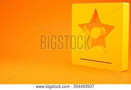 Yellow Hollywood Walk Of Fame Star On Celebrity Boulevard Icon Isolated On Orange Background. Famous