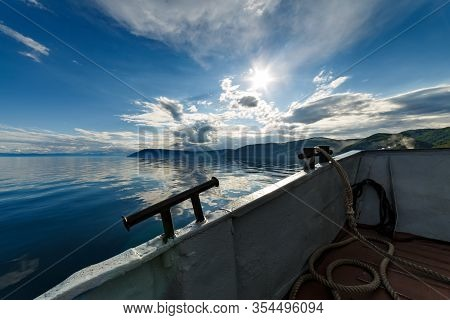 Baikal Lake View From A Side Of Moving Ferry