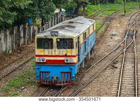 Old Diesel Locomotive On The Railroad Tracks Myanmar
