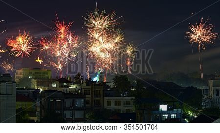 Mandalay Hill At New Years Night With Fireworks Show In Mandalay, Myanmar
