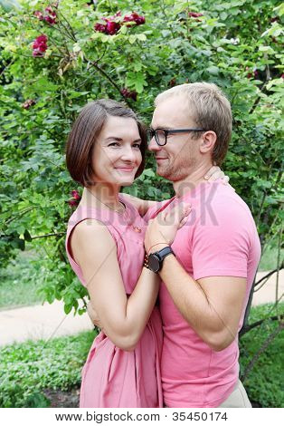 Young Couple Lovers Embracing