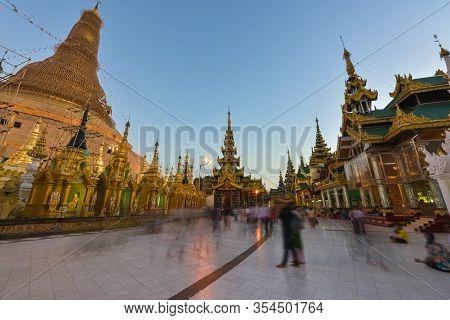 Shwedagon Pagoda Main Stupa At Dusk Yangon Myanmar
