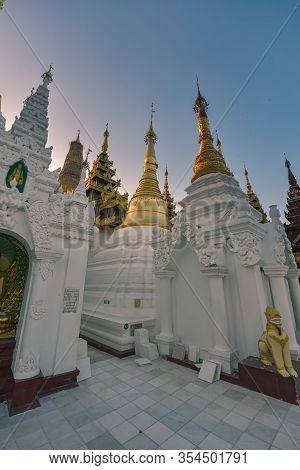 Shwedagon Pagoda Architectural Details Golden Stupas Yangon Myanmar