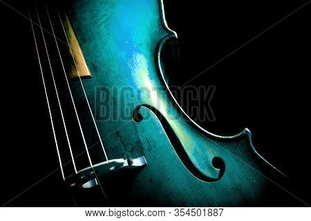 Cello In Aqua Menthe With A Copy-space For Text. Blue Cello.