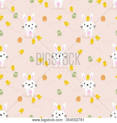 Cute White Rabbit, Little Chick And Easter Eggs Seamless Pattern. Lovely Bunny On Easter Background.