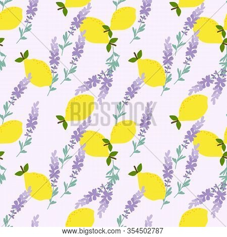 Yellow Lemon And Lavender Seamless Pattern. Summer Fruit Concept.