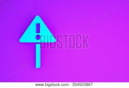 Blue Exclamation Mark In Triangle Icon Isolated On Purple Background. Hazard Warning Sign, Careful,