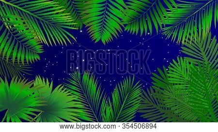 Tropical Background Of Palm Leaves. Tropical Palm Leaves Not Trace. Hand Painted Palm Leaves.