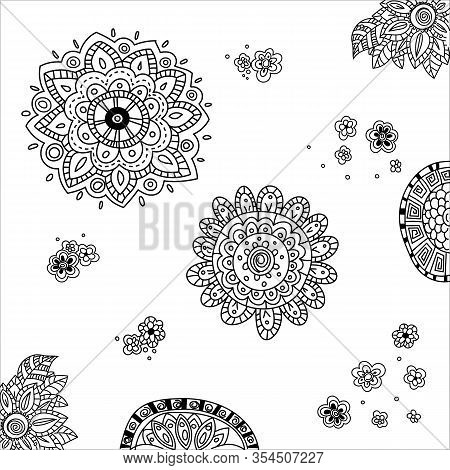 Set Of Hand Drawing Mandala, Flowers, Corner And Side Ornament In Ethnic Oriental Style. Decorative