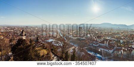 Graz, Styria Austria - 20.01.2019: Wide Panorama Of Graz City, City Rooftops, Mur River And City Cen