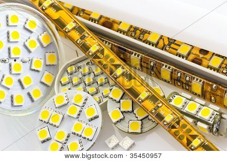 SMD LED-strip cooled and uncooled also G4 LED-bulbs and separate chips poster