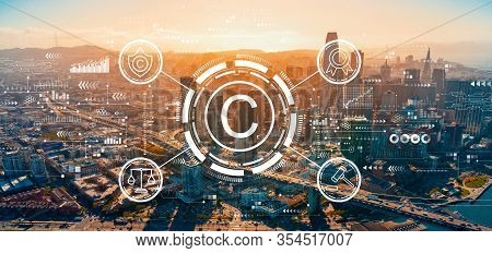Copyright Concept With Downtown San Francisco Skyline Buildings
