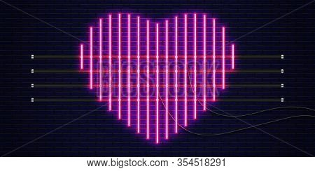 Neon Heart. Neon Sign, Icon, Banner With Flash Light. Heart Neon Sign. Element For Happy Valentines