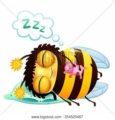 Funny Cartoon Bee With Teddy Bear Sleeping On A Pillow . Sleep Comic Bubble Icon. Vector Illustratio