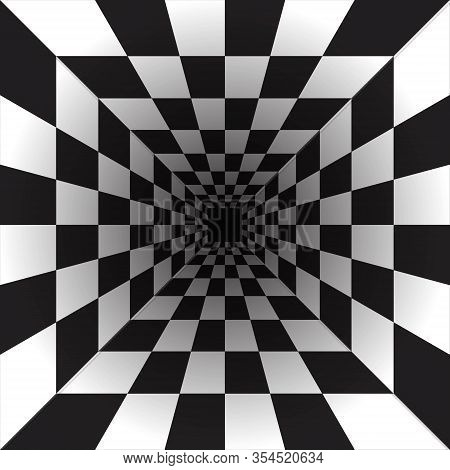 The Perspective Of Black And White Squares, The Illusion Of A Tunnel. Perspective Geometric Art.