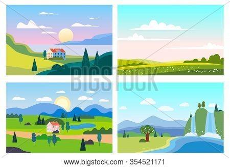 Set Summer Sunset Seaside Landscapes. Sea Ocean Nature Hills Fields Mountains Blue Sky Clouds Sun Ho