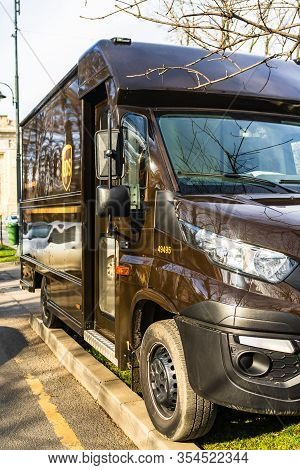 Ups Truck Parked On The Sidewalk In Bucharest, Romania, 2020. Ups Is One Of Largest Package Delivery