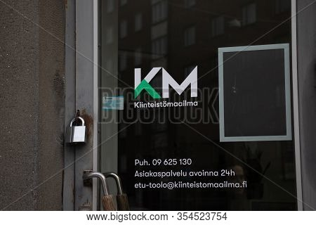 Helsinki, Finland - 3 March 2020: Kiinteistomaailma Km Logo On Street , Illustrative Editorial