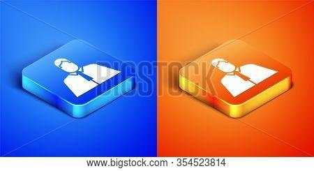 Isometric Lawyer, Attorney, Jurist Icon Isolated On Blue And Orange Background. Jurisprudence, Law O
