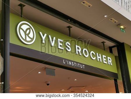 Bordeaux, France, March 07, 2020 : Yves Rocher Logo Sign Of A Store, Boutique, Shop That Sells Cosme