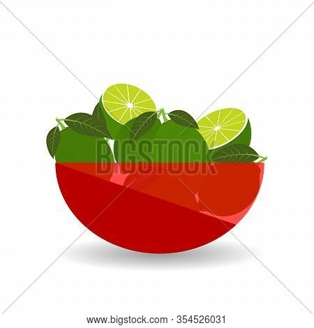 Lime In A Red Transparent Bowl. Vector Graphic Illustration With Shadow.