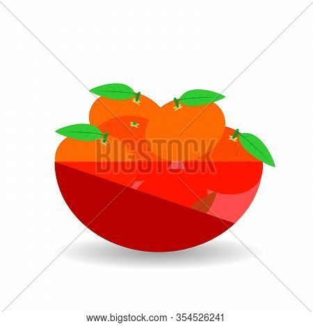 Mandarins In A Red Transparent Bowl. Vector Graphic Illustration With Shadow.