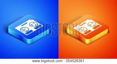 Isometric Celestial Map Of The Night Sky Icon Isolated On Blue And Orange Background. Starry Hemisph