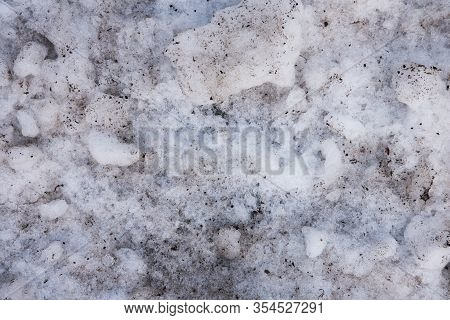 Chunks Of Dirty Snow Mixed With Sand. You Will Get Snow Chunks Like These After Clearing Snow Outdoo