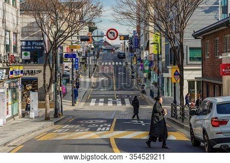 Seoul, South Korea - January 01, 2019: Unidentified People Visit Bukchon Hanok Village In Seoul,sout