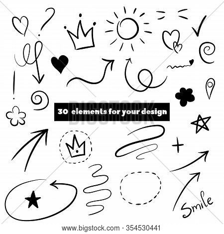 Decorate Your Texts And Photos With Hand Drawn Elements.swoops, Emphasis Doodles. Highlight Text Ele