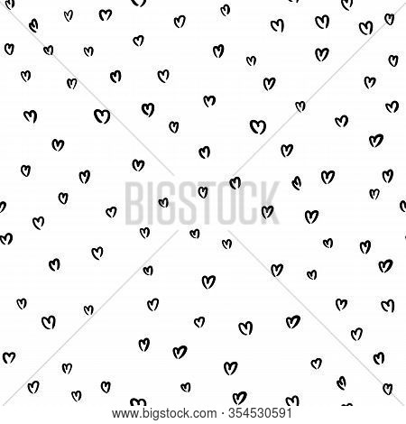 Hen Bachelorette Party Vector Seamless Pattern With Black Hearts. Black Card Simple Heart Illustrati