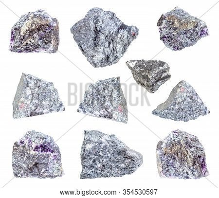Set Of Various Stibnite (antimonite) Rocks Isolated On White Background