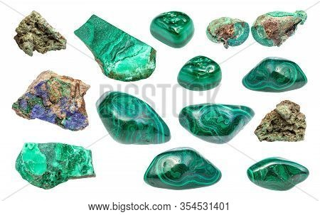 Set Of Various Malachite Gemstones Isolated On White Background