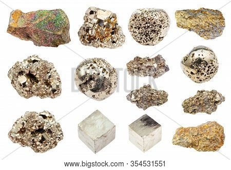 Set Of Pyrite (iron Pyrite, Fool's Gold) Crystals