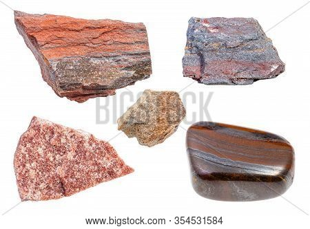 Set Of Various Quartzite Rocks Isolated On White Background