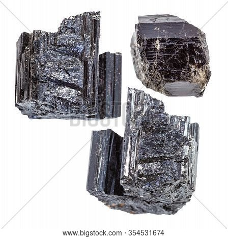 Set Of Schorl (black Tourmaline) Crystals Isolated On White Background