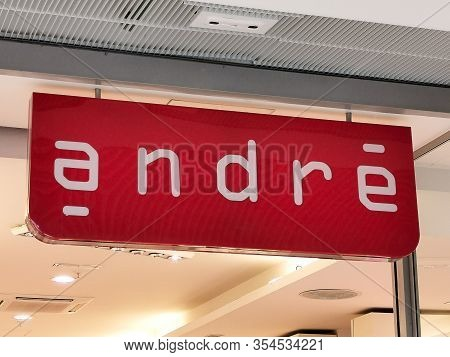 Bordeaux, France, March 07, 2020 : Andre Shoe Store Brand Logo Sign On Facade Of French Footwear Com