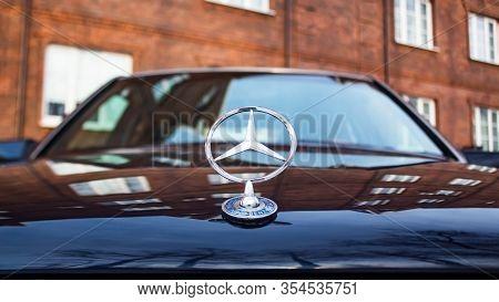Moscow, Russia - March 8, 2020: Blue Mercedes-benz E-class Front View. Original Mercedes-benz E-clas