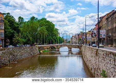 The Latin Bridge In The Center Of Sarajevo Taken On 24 June 2019 Bosnia And Herzegovina