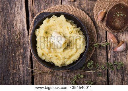 Fresh Homemade Creamy Mashed Potato Or  Potato Puree In Pan Mashed Potato