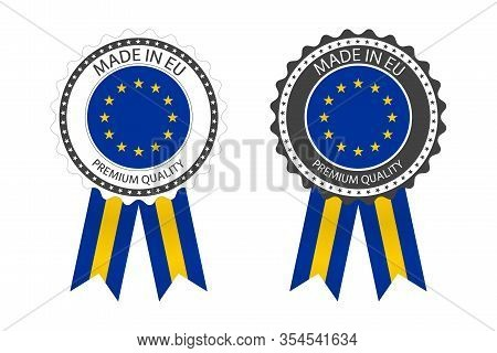 Two Modern Vector Made In The European Union Labels Isolated On White Background, Simple Stickers In