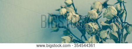 Dry Faded Flowers, Composition With A Bouquet Of Beautiful Dried Roses On Banner. A Concept Of Memor